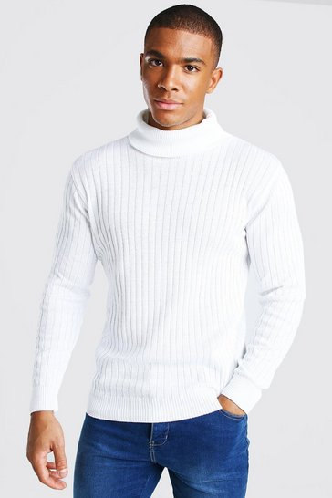 White Ribbed Long Sleeve Roll Neck Jumper