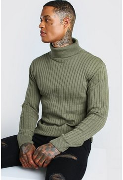 Khaki Ribbed Long Sleeve Roll Neck Jumper
