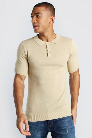 Camel beige Short Sleeve Knitted Polo