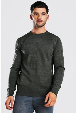 Khaki Basic Crew Neck Jumper