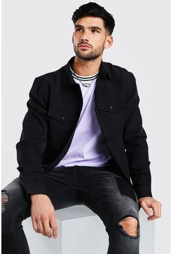Black Smart Utility Stretch Overshirt