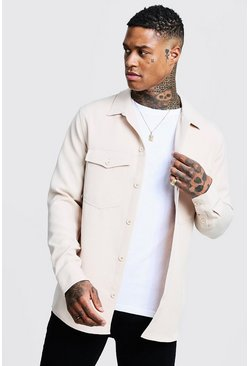 Ecru white Smart Utility Stretch Overshirt