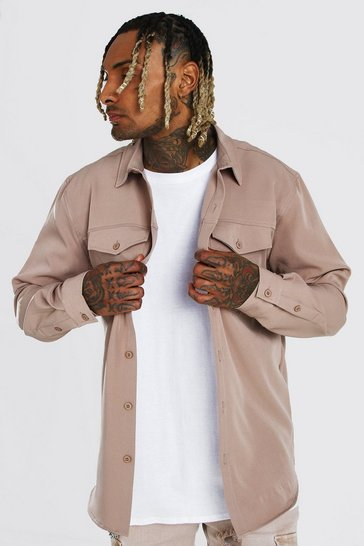 Taupe beige Smart Utility Overshirt