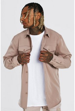 Taupe beige Smart Utility Stretch Overshirt