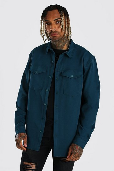 Teal green Smart Utility Stretch Overshirt
