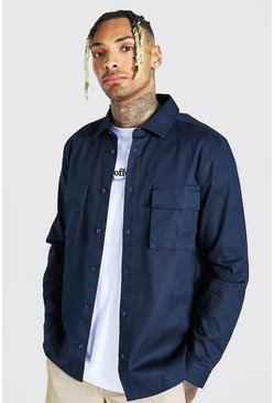 Navy Regular Fit Double Cargo Pocket Overshirt