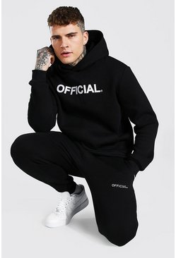 Black Official Embroidered Hooded Tracksuit