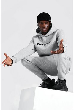 Grey Official Embroidered Hooded Tracksuit