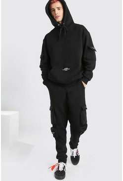 Black Official MAN 3D Cargo Hooded Tracksuit