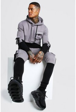 Official Colour Block Utility Tracksuit With Buckle, Slate Серый