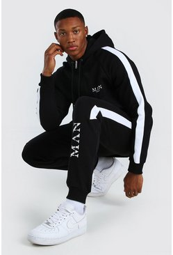 Black MAN Roman Zip Hooded Tracksuit With Panels