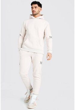 Light stone MAN Roman Sleeve Print Hooded Tracksuit