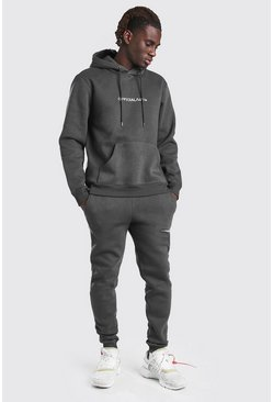 Dark grey grey Official MAN Tape Hooded Tracksuit