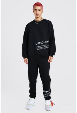Black Loose Fit Sweater Tracksuit With Reflective Print