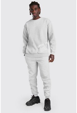Grey marl grey Loose Fit Reflective Print Sweater Tracksuit