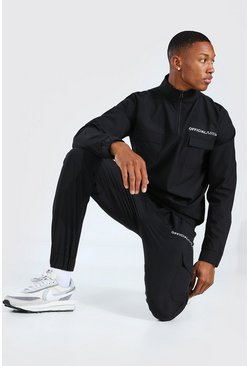 Black Official MAN Shell Utility Half Zip Tracksuit
