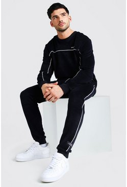 Navy MAN Velour Sweater Tracksuit With Piping