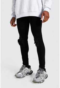 True black Super Skinny Rip And Repair Biker Jean