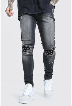 Washed black Super Skinny Bandana Biker Jean