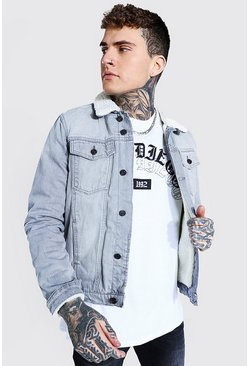 Regular Fit Fully Borg Lined Denim Jacket, Ice bleu