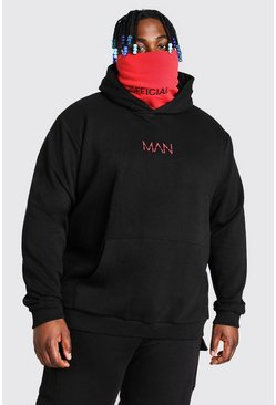 Black Plus Size MAN Dash Contrast Snood Hoodie
