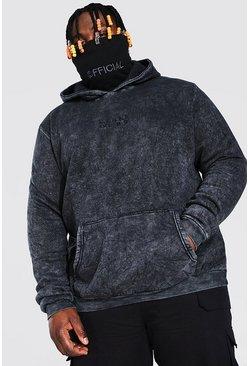 Black Plus Size MAN Acid Wash Snood Hoodie