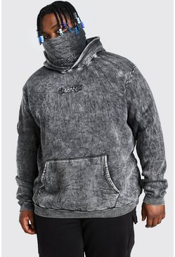 Black Plus Size MAN Acid Wash Snood Contrast Box