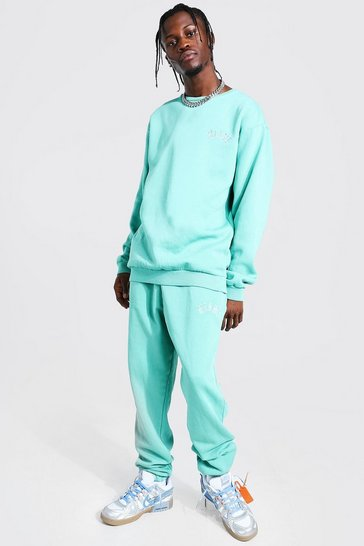 Turquoise blue Overdyed Loose Fit Miami Tracksuit