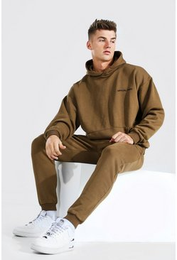 Brown Oversized Overdyed MAN Hooded Tracksuit