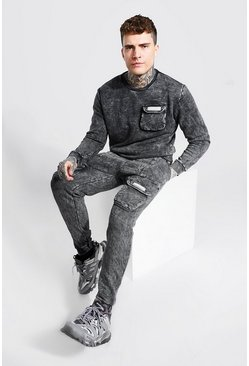 Charcoal grey Overdyed MAN Cargo Pocket Sweater Tracksuit