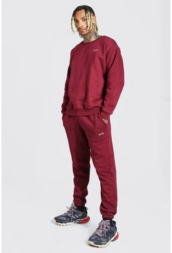 Wine red Overdyed Marl Oversized MAN Sweater Tracksuit