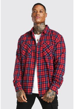 Oversized Check Shirt, Red rouge