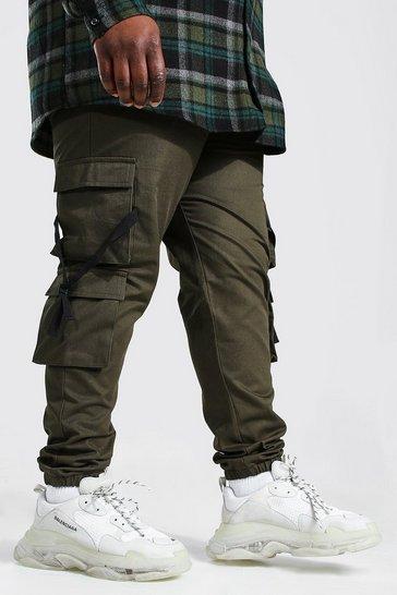 Khaki Plus Size Strap Detail Woven Cargo Jogger