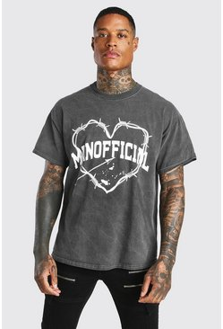 Charcoal grey Oversized Man Official Heart Print T-Shirt