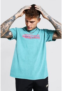 Green Oversized Man Official Print Overdyed T-Shirt