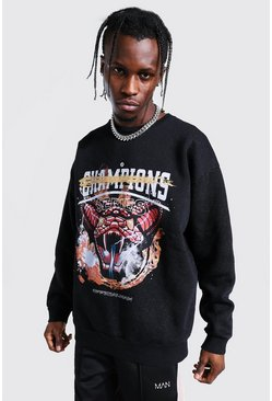 Washed black Oversized Man Champions Snake Print Sweat
