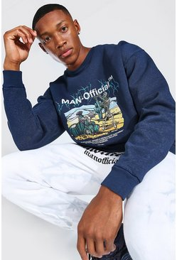 Navy Oversized Man Official Skeleton Print Sweat