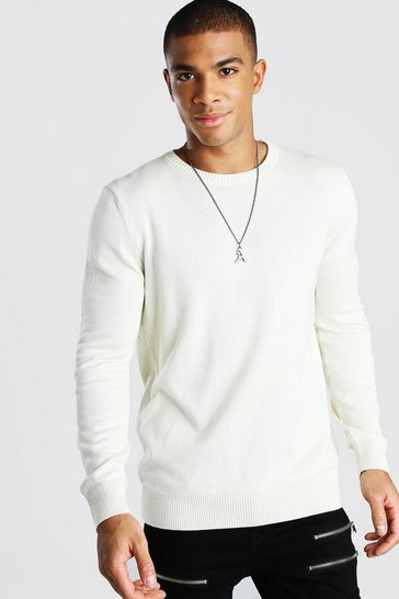 Ecru white Basic Crew Neck Jumper
