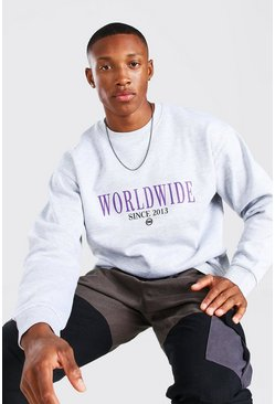 Grey marl grey Oversized Worldwide Sweater Met Opdruk