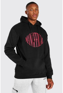 Oversized Man Official Print Hoodie, Black negro