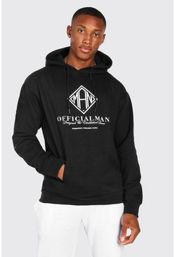 Black Official Man Abstract Print Hoodie