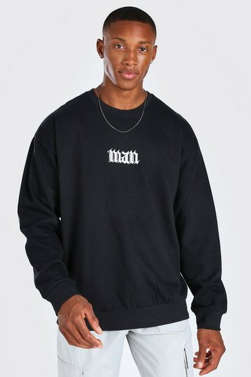 Black Oversized Gothic Man Print Sweatshirt