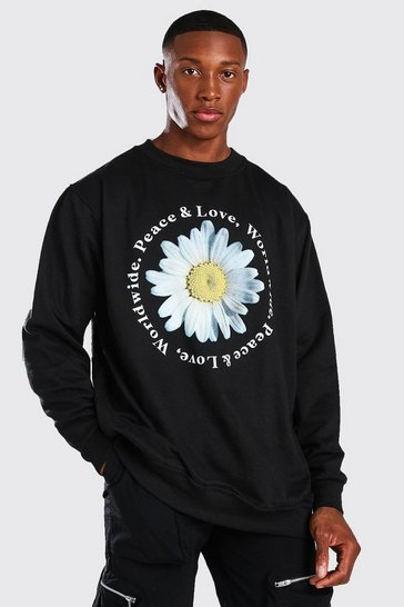 Black Peace And Love Daisy Print Oversized Sweater