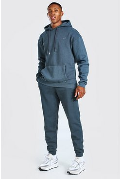 Dark grey grey Heavyweight Enzyme Wash Tracksuit