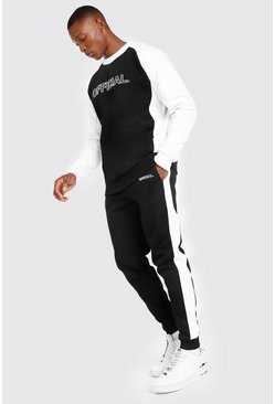 Black Official Print Contrast Panel Sweater Tracksuit