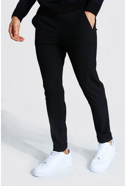 Skinny Smart Cropped Jogger With Turn Up, Black negro
