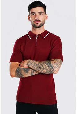 Short Sleeve Muscle Fit Knitted Half Zip Polo, Burgundy rouge