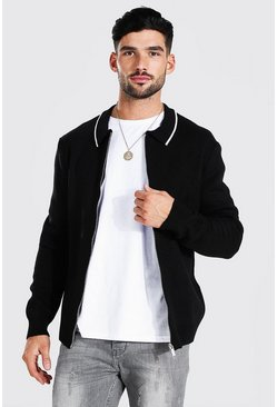 Black Knitted Harrington Jacket With Tipping