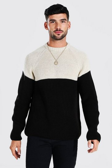 Black Colour Block Chunky Knit Crew Neck Jumper