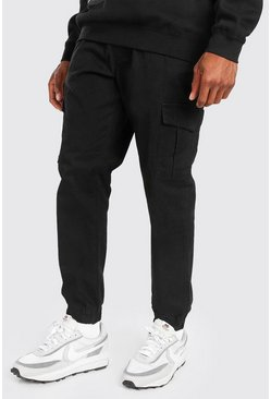 Black Cargo Trouser With Elasticated Waist